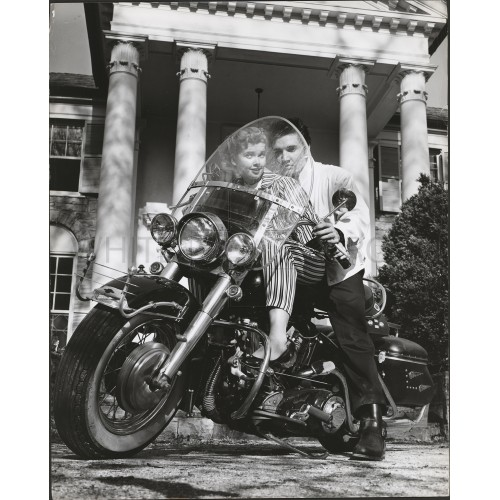 Elvis Presley with his Harley Davidson Motorcycle, an Archival Print