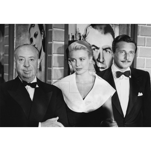 Alfred Hitchcock,Grace Kelly, and Oleg Cassini at the Premier of Rear Window, an Archival Print
