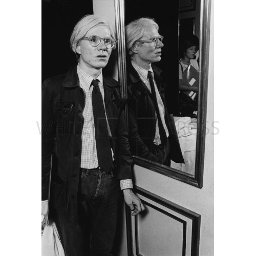 Andy Warhol Leaning on Mirror, an Archival Print