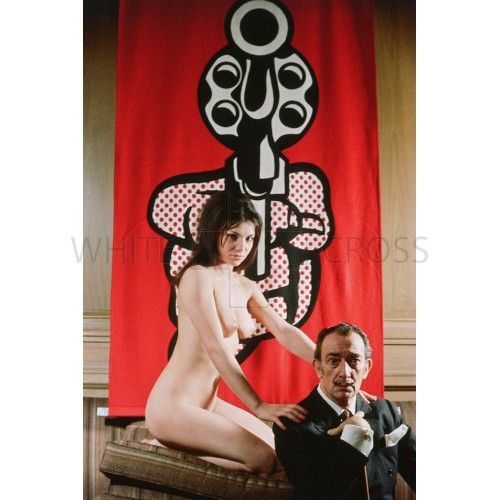 Amazing 1960's Photo of Salvador Dali in Front of a Lichtenstein Painting! Edition of 12.