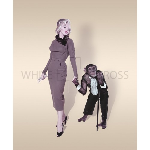 Marilyn Monroe Color Transparency with Chimpanzee