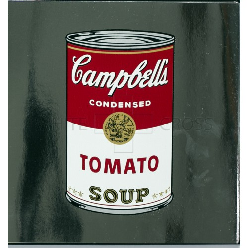 Limited edition lithograph by Andy Warhol of his iconic Campbell's Tomato Soup Can on Silver Metallic Paper