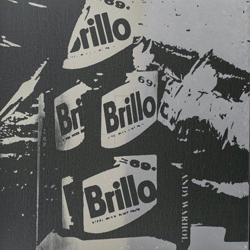 Limited edition lithograph by Andy Warhol of his iconic Brillo Pads on Silver Metallic Paper