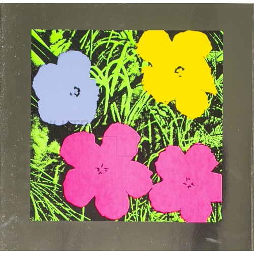 Limited edition lithograph by Andy Warhol of Colored Flowers on Silver Metallic Paper