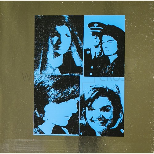 Limited edition lithograph by Andy Warhol of Jacqueline Kennedy on Blue Metallic Paper