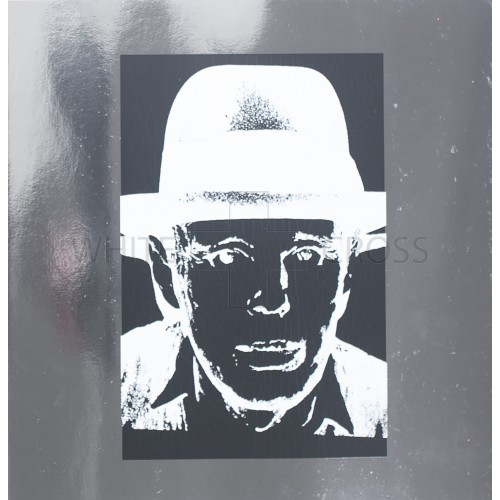 Unique Limited edition lithograph by Andy Warhol of  Joseph Beuys on Heavy Silver Metallic Paper