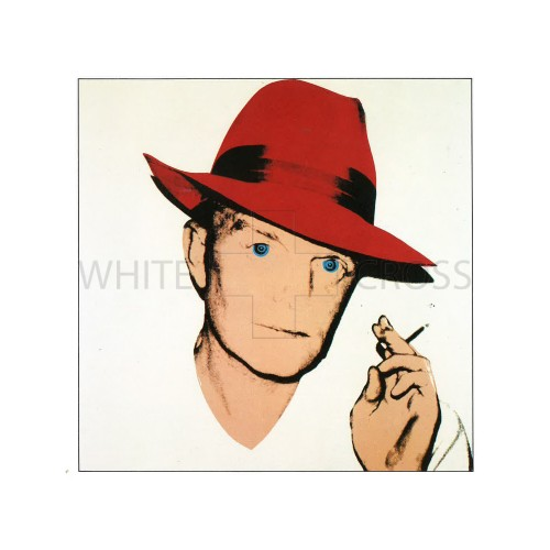 Unique Limited edition numbered lithograph by Andy Warhol of  Truman Capote with a Red Fedora