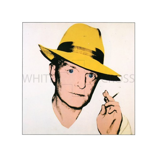 Limited edition numbered lithograph by Andy Warhol of his iconic print of Truman Capote  in a Yellow Fedora
